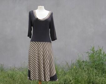 Sale, Brown grey striped dress, Size XL/ XXL, striped dress, plus size dress, eco friendly, upcycled dress, hippie dress