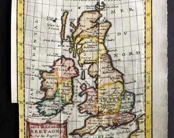 Buffier 1752 Hand Col Map. Carte de la Grande Bretagne. British Isles