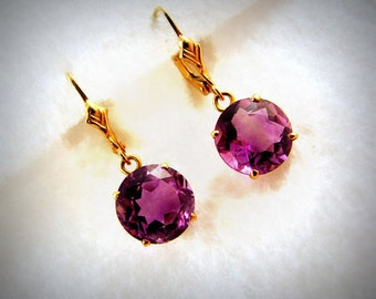 Vintage Pure 14k YELLOW GOLD Drop Earring w/ Genuine Amethyst -- 2.9g, Leverbacks, Faceted/Round Stone with Gorgeous Color, Est. 3ct. Total