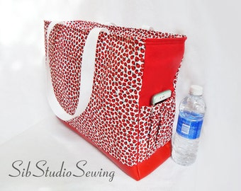 Ladybug Diaper Bag, Zipper Closure, Lots of Pockets, Ladybugs Cotton and Red Faux Leather, 16.5 w x 12.5 h x 6 depth inches, Ladybirds Bag