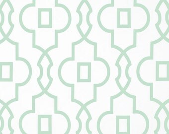 1 yard Bordeaux Artichoke - Home Decor Fabric - Premier Prints  - Pale Green White Trellis, Lattice