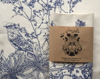 Screen printed tea towel with Victorian Bird design in blue