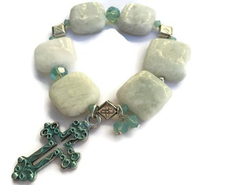 Cross Bracelet, Amazonite Bracelet, Natural Gemstone, Turquoise  Cross