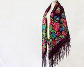 Russian shawl, maroon shawl, hand block printed, wine throw wool, merlot scarf, floral wool throw, autumn shawl, garden party throw NWOT