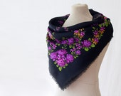 Russian scarf with purple roses, Russian folk art, square wool scarf, floral neckerchief, bright scarf with lilies wool headscarf for autumn