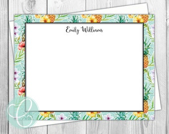 Tropical Pineapple Stationery - Flat Note Cards - Set of 12 - Family Personalized Stationery - Coastal - Hawaiian - Tropical - Beach