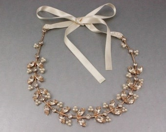 Rose Gold Bridal Hair Accessories Wedding Headband, Silk Swarovski Crystal Vine & Ivory Pearl Boho Wire Wrapped Halo, Camilla Christine ANIA