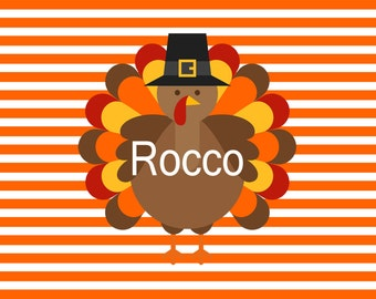 Personalized Thanksgiving Placemat, Fall Placemats, Reversible Turkey Placemat, Table Decor, Fall Decor