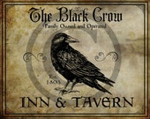 Primitive Colonial Black Crow Tavern Inn Sign Jpeg Digital  Image Feedsack Logo Pillows Pantry Labels Hang tags Crock Crate Can Candle Label