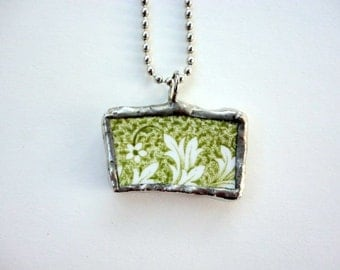 Broken China Necklace Leaf pattern china Necklace Bohemian Gypsy Summer wedding Handmade