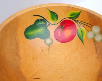 Vintage Wood Bowl - Hand painted bowl - Wooden Dough bowl - Vegetable design - 1940s - Oval wood bowl