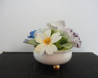 Vintage Porcelain Flower Bouquet- Staffordshire China - Collectible 1960s - Cottage Wedding