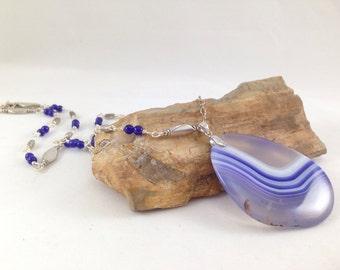 Purple agate gemstone necklace