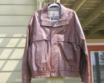 Leather bomber jacket - New Zealand Outback leather jacket - XL leather coat - brown leather coat - Cooper Collection leather jacket - 1990s