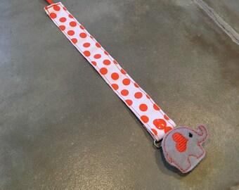 Pacifier Leash Paci Leash- White with Orange Dots Ribbon
