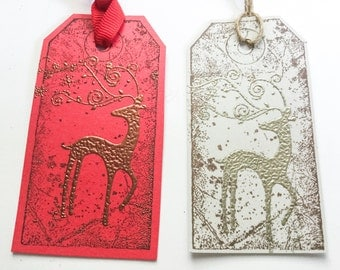 Hand made Stampin Up Reindeer gift tags - Buck - Christmas gift tags - pick your color - set of 12 tags -fancy tags- embossed - sturdy tags