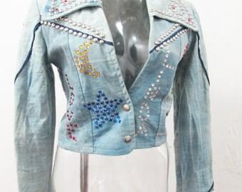 1970s Custom Studded Love Linda Denim Jacket