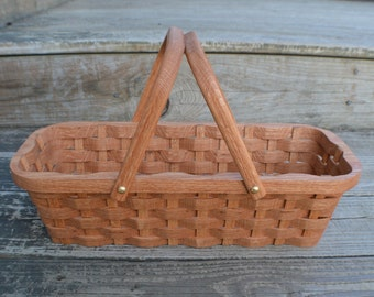 Knitting supplies tote basket handles Oak wood
