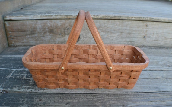 Knitting Basket With Handles : Knitting supplies tote basket handles oak wood by