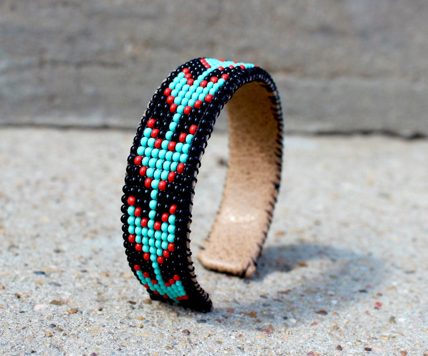 american beaded cuff bracelet with turquoise arrow