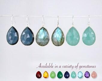 Blue Labradorite earrings, Gemstone earrings, Kyanite Earrings, Tear drop Gemstone Earrings, Statement Earrings, aqua chalcedony earrings