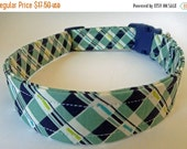 "Sale 50% Off Multi Blue Plaid Dog Collar  - ""Joey"" - NO EXTRA Charge for colored buckles"