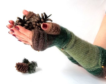 Knit Fingerless Gloves. Green and Brown Knit Gloves. Long Gloves. Knitted Wrist Warmers. Knit Arm Warmers. Women Gloves. Hand Knit.