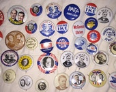 Political Pinback Buttons Vintage 1972 Reproduction Campaign Pins Approx. 40 in all