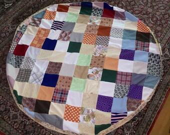 Crazy Quilt Cover Vintage Round Patchwork Quilt Tablecloth Colorful