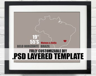 Brazil Coordinate Print - Personalized DIY PSD Layered Template, Wedding or Anniversary Gift, Digital Download Map, Bridal Shower Gift