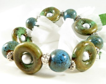Green Blue Ceramic Art Deco Beaded Stretch Bracelet with Silver Accents ~ 2016 Handmade Boho Chic Trending Womens Jewelry