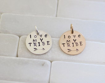 Mommy Charm - Family Charm - Tribe Charm - Love my Tribe Charm - Sterling Silver Charm - Gold Charm - Motivational Charm - Love Charm