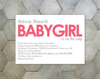 Baby is on the Way // Baby Girl or Baby Boy Shower Invite