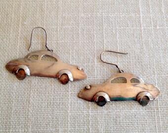 Silver Car Earriings/Sterling Silver CAR/Earrings 925 Auto Coupe Driving Jewelry Fun Hanging Pierced Earrings Vintage Car Buff Motorhead