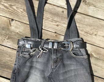 Upcycled jean cut off tote bag handbag