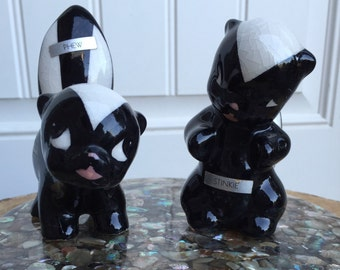 DeLee Art California ceramic vintage ceramic skunks, with maker's tags, Stinkie snd Phew, mid century modern kitsch, 1937-'50's