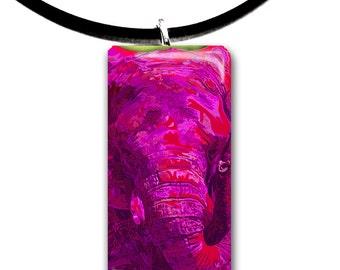 pink Elephant pendant, hand painted unique artwork, Glass tile pendant, bright neon pink colors