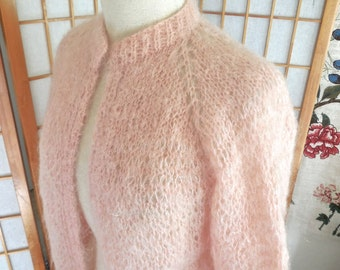 Vintage 60s Pink Mohair Cardigan Sweater with Quarter Sleeves Hand Knit