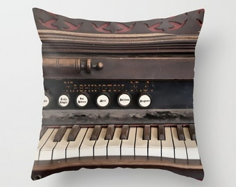 Large Throw Pillow Dusty Antique Vintage Piano