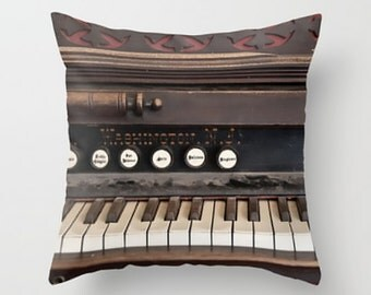 Small Throw Pillow Dusty Antique Vintage Piano