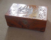 Vintage Carved Wood Jewelry Box