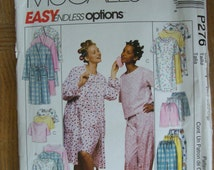 McCalls P276, Misses' Robe, Misses' Nightgown, Misses' Top & Pants or Shorts