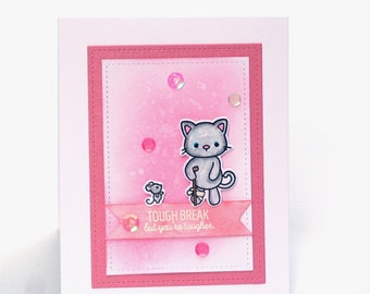 Cute kitten get well card, cat and mouse, love and hugs, Feel better, broken leg,