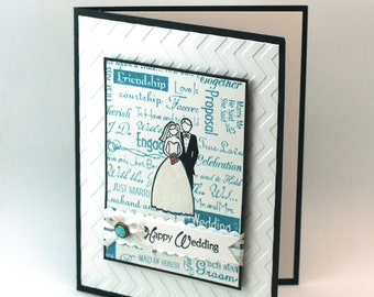 Turquoise Blue Wedding Card, Engagment card, Wedding Congratulations card, Bride and Groom card, Just Married