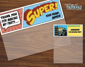 Superhero Birthday Bag Toppers, Editable Treat Bag Labels, INSTANT DOWNLOAD printable digital file