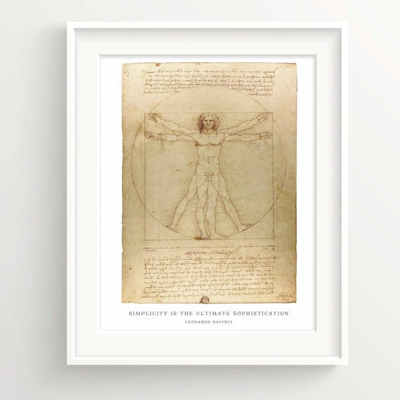 Leonardo Davinci Print Vitruve Wall Art Print quote