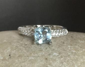 Aquamarine Engagement Ring- Promise Ring for Her- Aquamarine Ring- Bridal Wedding Ring- Proposal Ring- Princess Cut Ring- March Ring