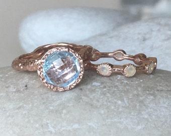Rose Gold Bridal Set- Branch Engagement Wedding Ring- Statement Stone Stacking Ring- Non-Traditional Bridal Set- Alternative Engagement Ring