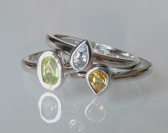 Gemstone Stack Ring- Stack Ring- Mothers Ring- Birthstone Rings- Citrine Ring- Peridot Ring- Blue Topaz Ring- Stackable Rings- Silver Ring