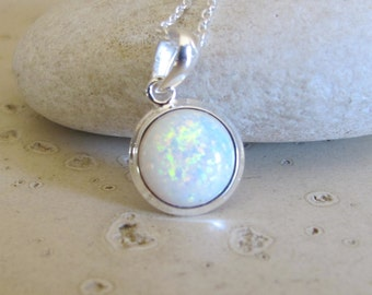 Bezel Round Opal Necklace- Sterling Silver Necklace- Bridesmaids Necklace- October Birthstone Necklace- Gifts for Her- Silver Necklace
